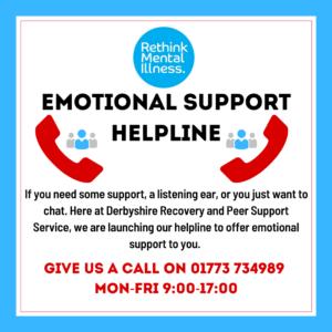 Rethink Emotional Support Helpline Poster - 01773 734989 Mon to Fri 9am-5pm